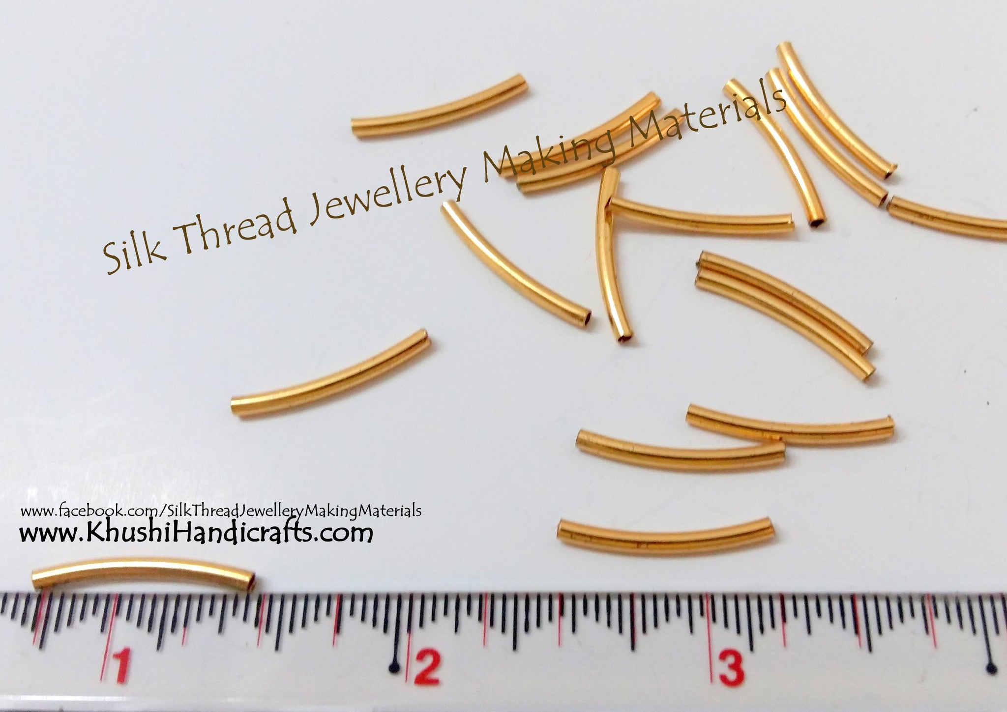 Gold Pipes small(Sold as a pack of 20 pieces) - Khushi Handmade Jewellery