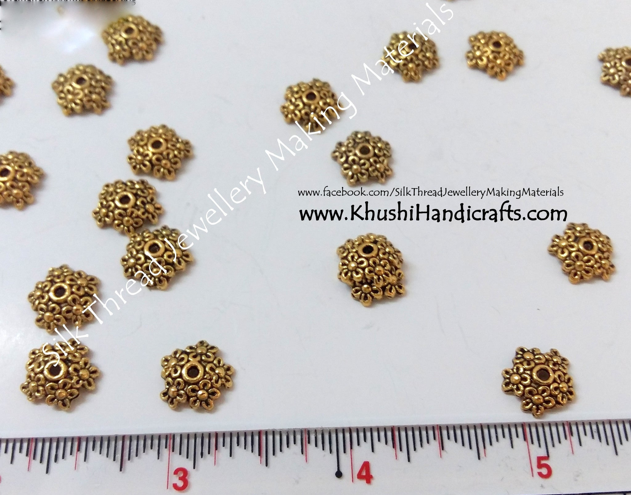 Antique Gold Multiple Flower Bead Cap 10mm - Khushi Handmade Jewellery