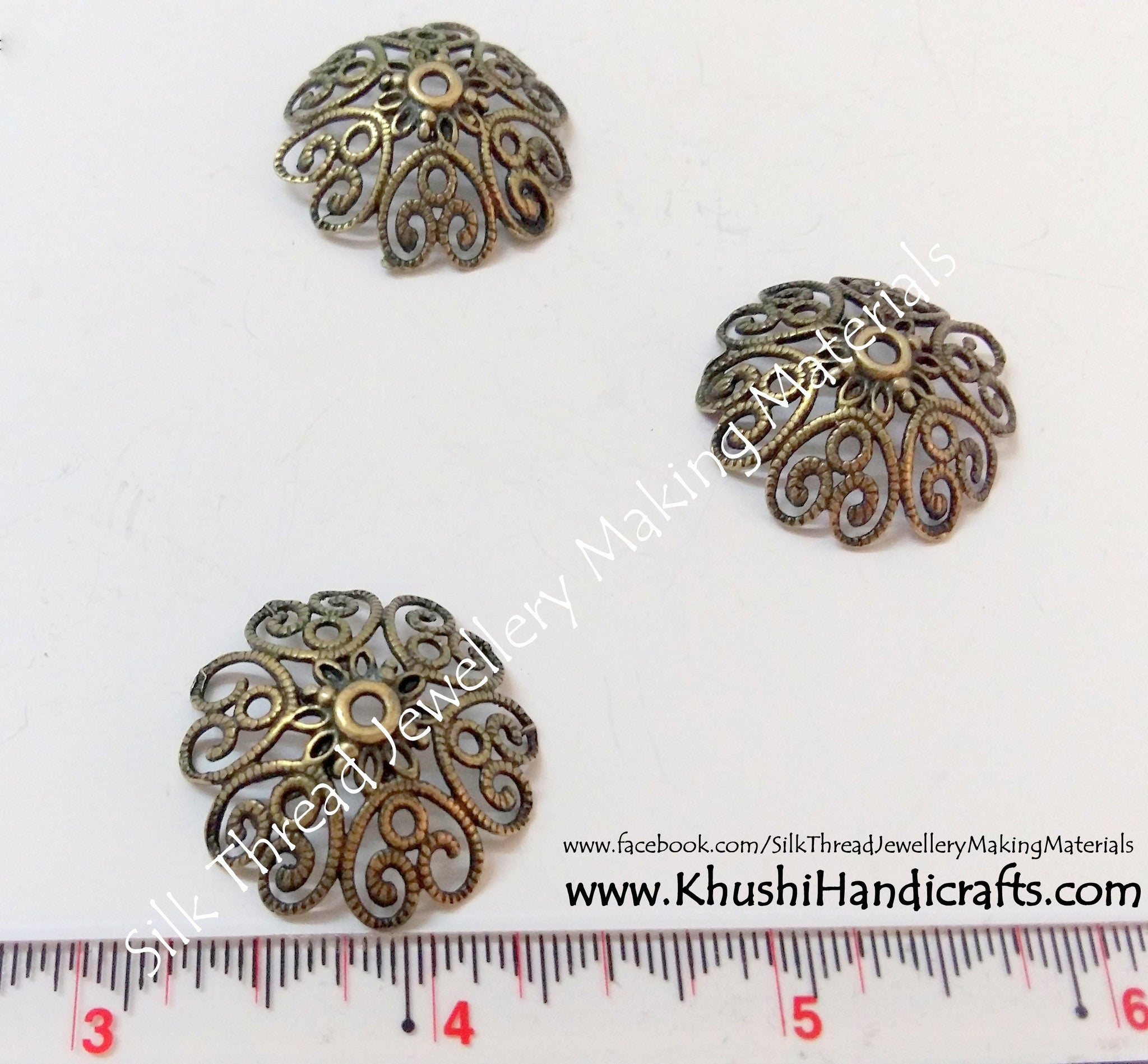 Antique Gold Bead Cap 27mm - Khushi Handmade Jewellery