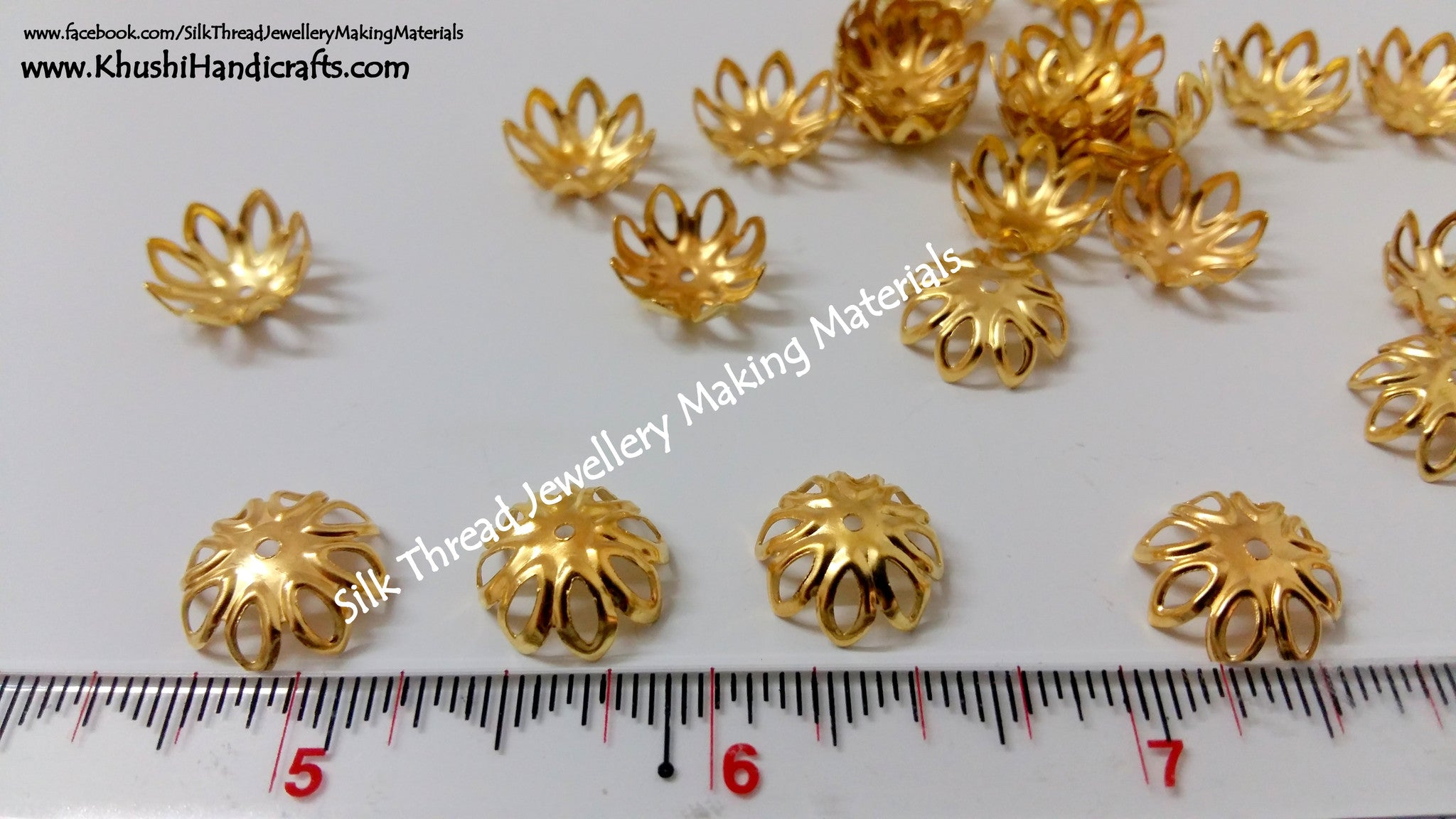 Gold Flower Bead Cap Big Pack of 20 pairs - Khushi Handmade Jewellery