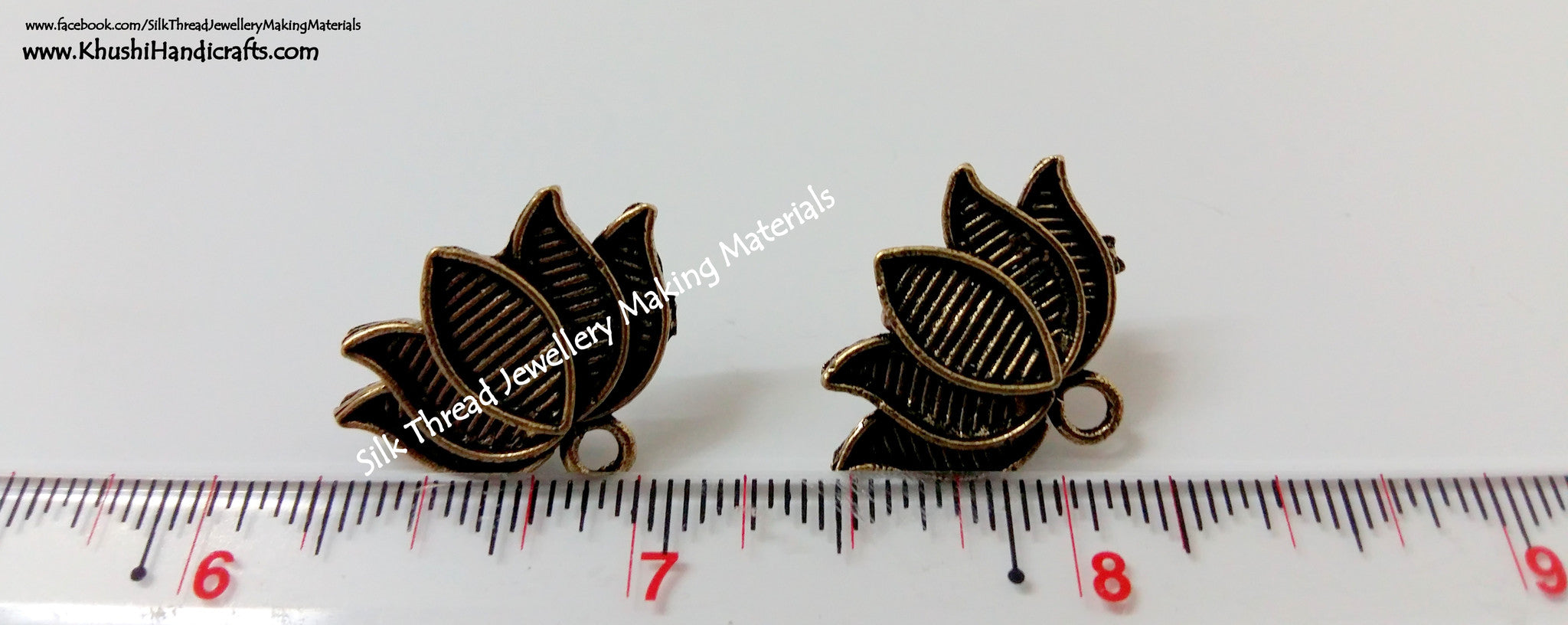 Antique Gold Lotus Studs - Khushi Handmade Jewellery