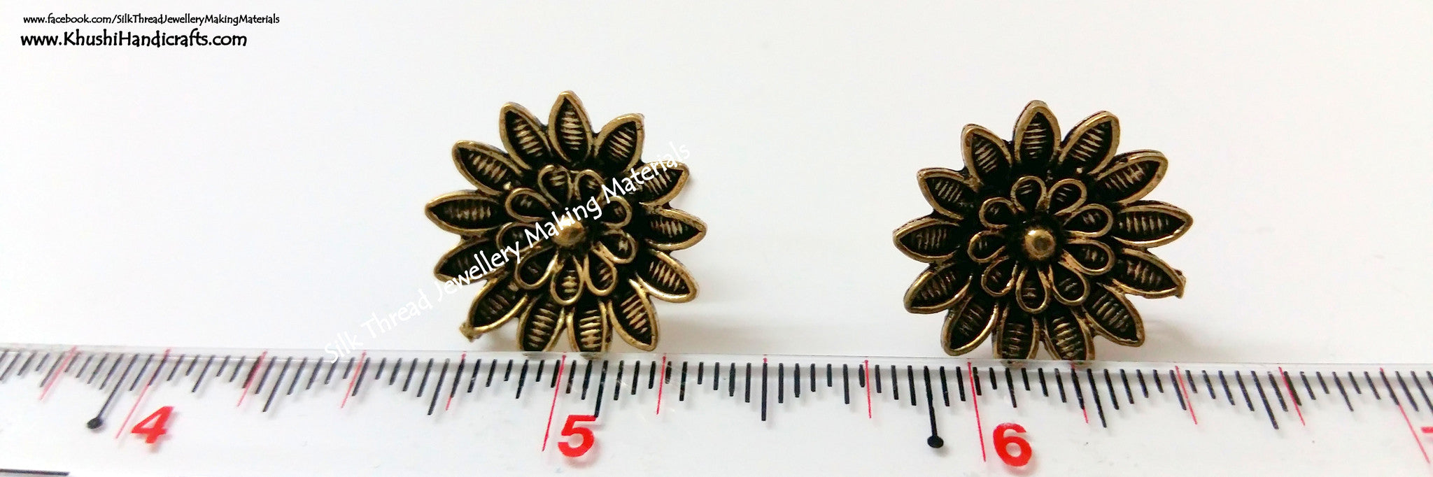 Antique Gold Flower Studs 1 - Khushi Handmade Jewellery