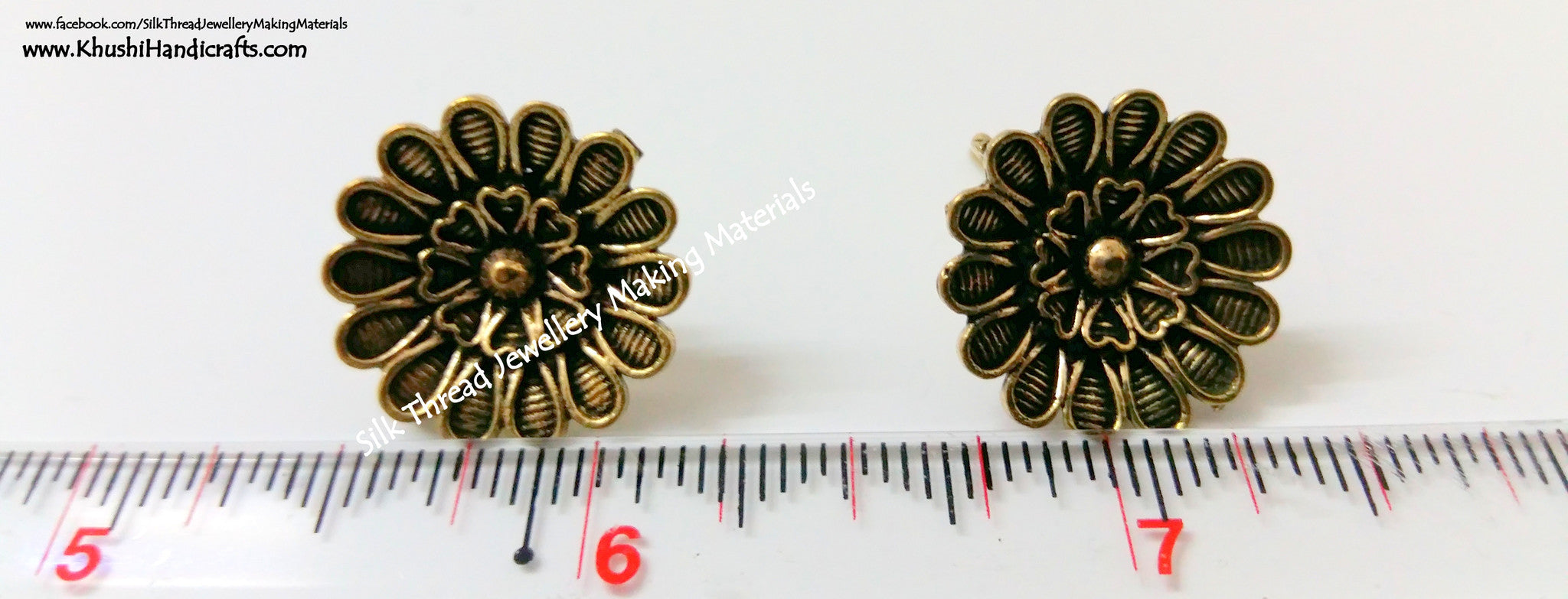 Antique Gold Flower Studs 2 - Khushi Handmade Jewellery