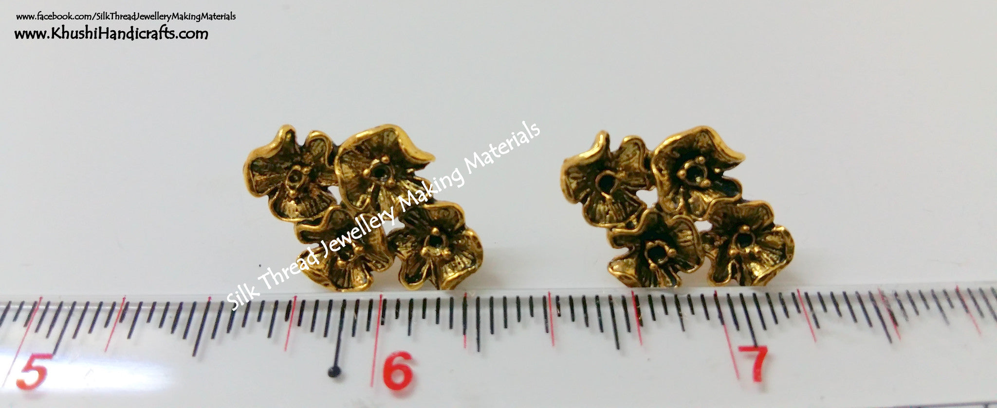 Antique Gold/Silver 4 Flower Studs - Khushi Handmade Jewellery