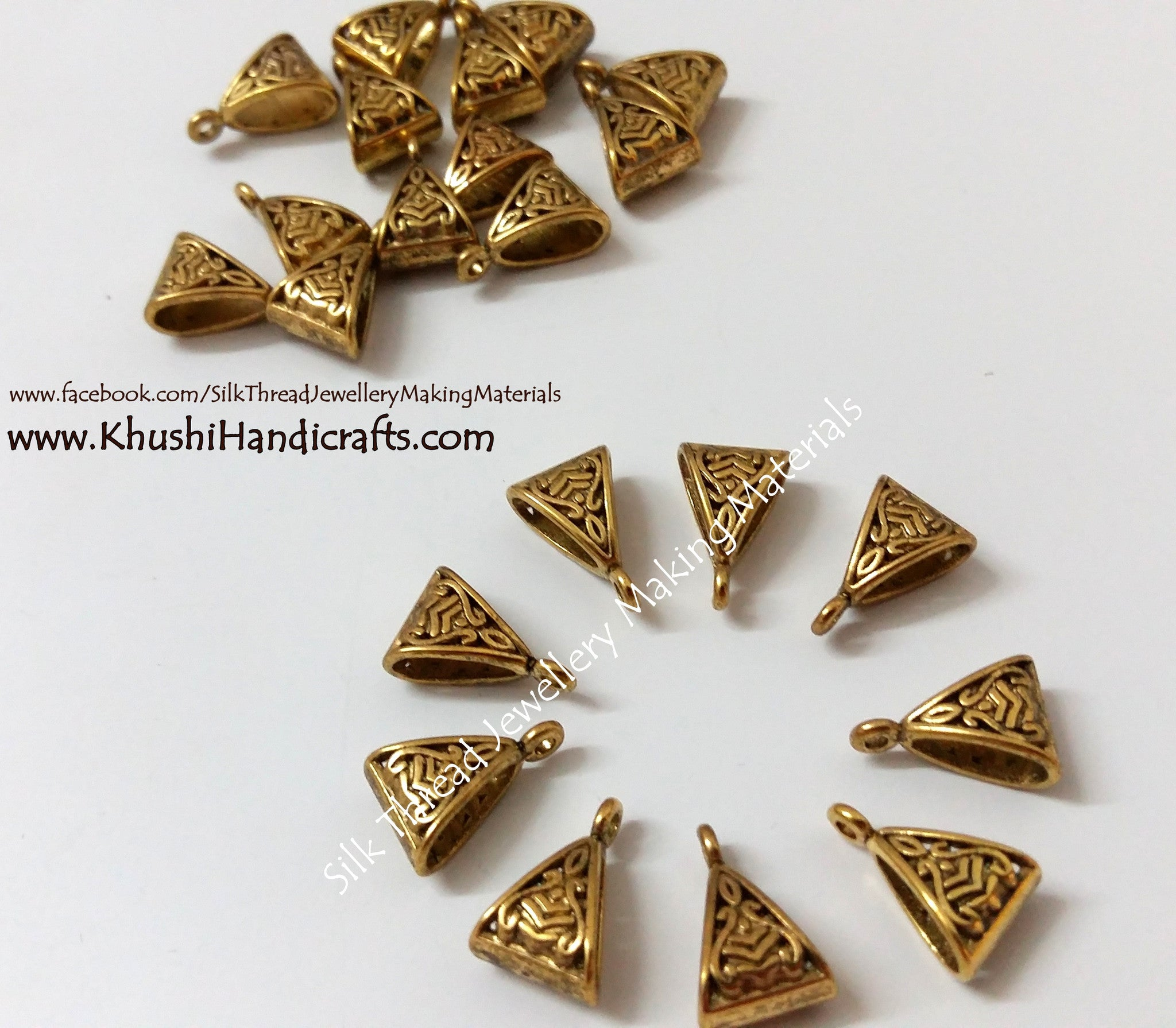 Bulk -High Quality Antique Gold Triangular Bails 100 pieces - Khushi Handmade Jewellery