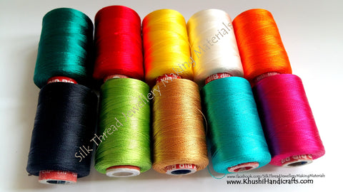 Silk Threads Spool Combo 1- Multiple colors for Bangle/Jhumkas/Jewelry Designing