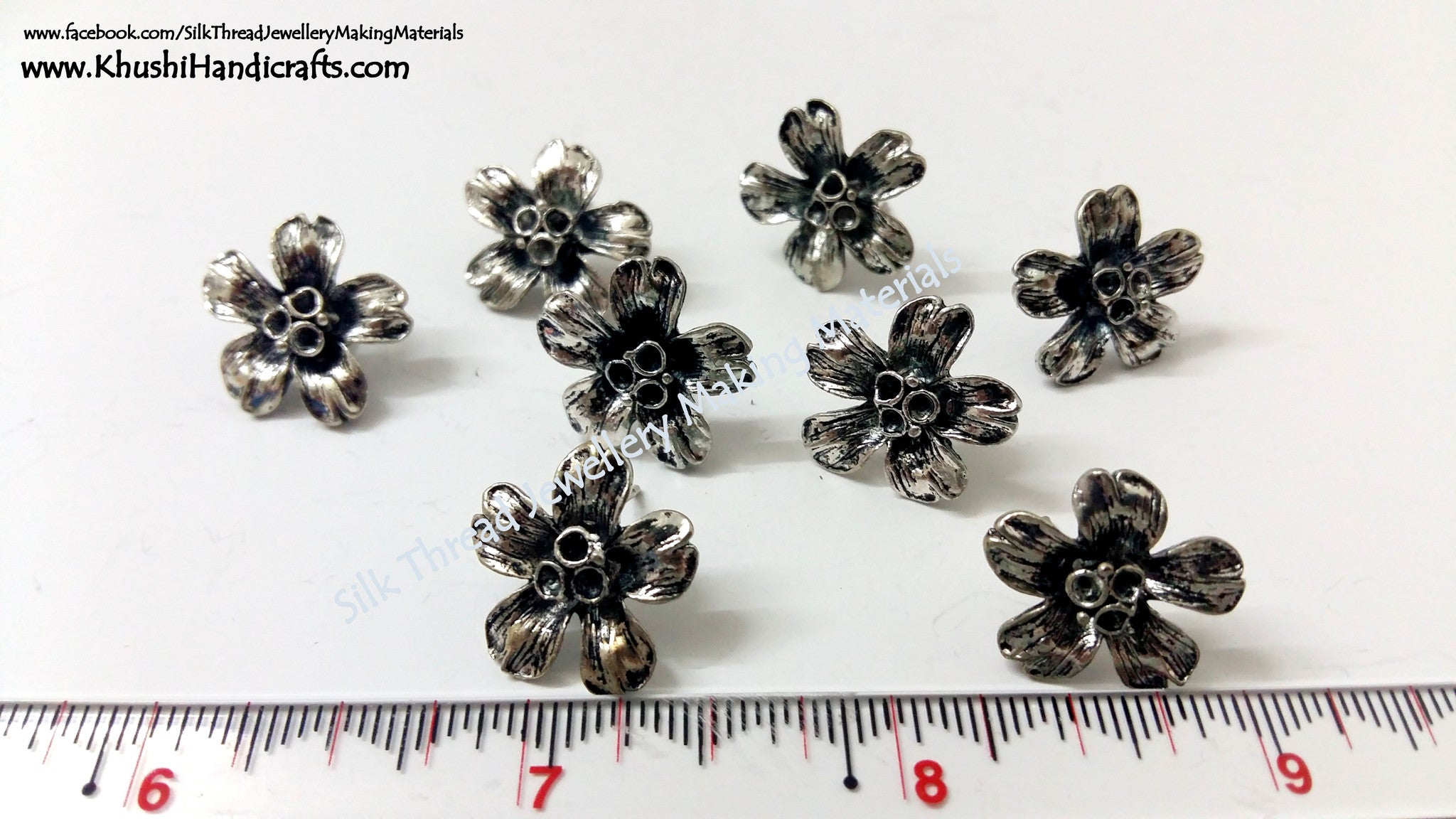 Antique Silver Flower Studs - Khushi Handmade Jewellery