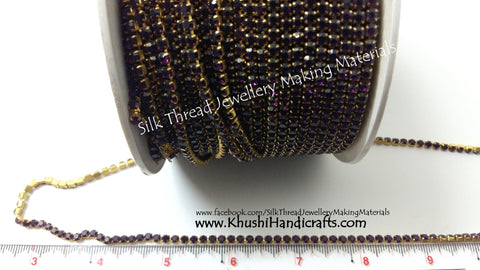 Dark Purple Stone Chain.Sold as a pack of 5 meters!