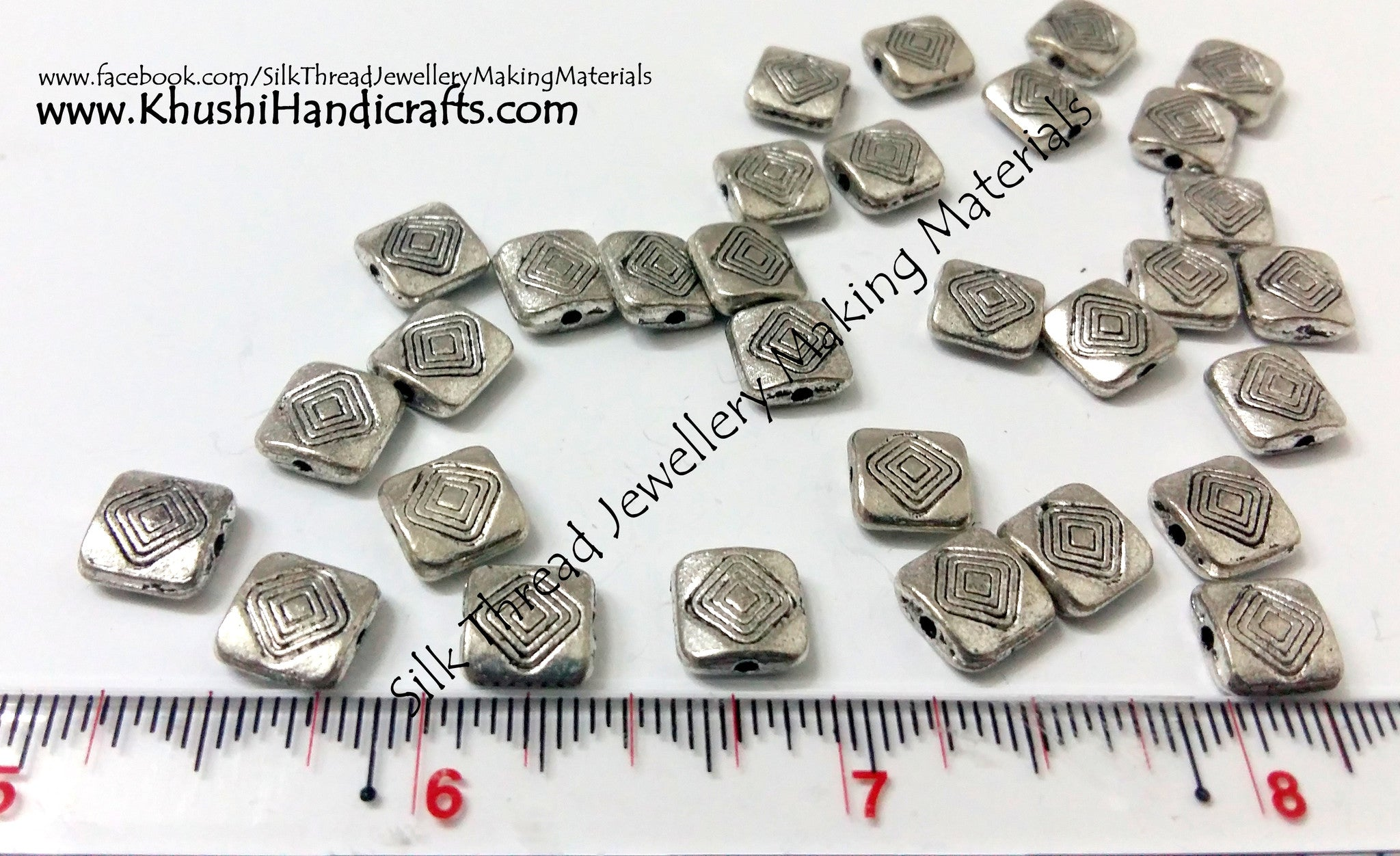 Designer Antique Silver square spacer beads - Khushi Handmade Jewellery