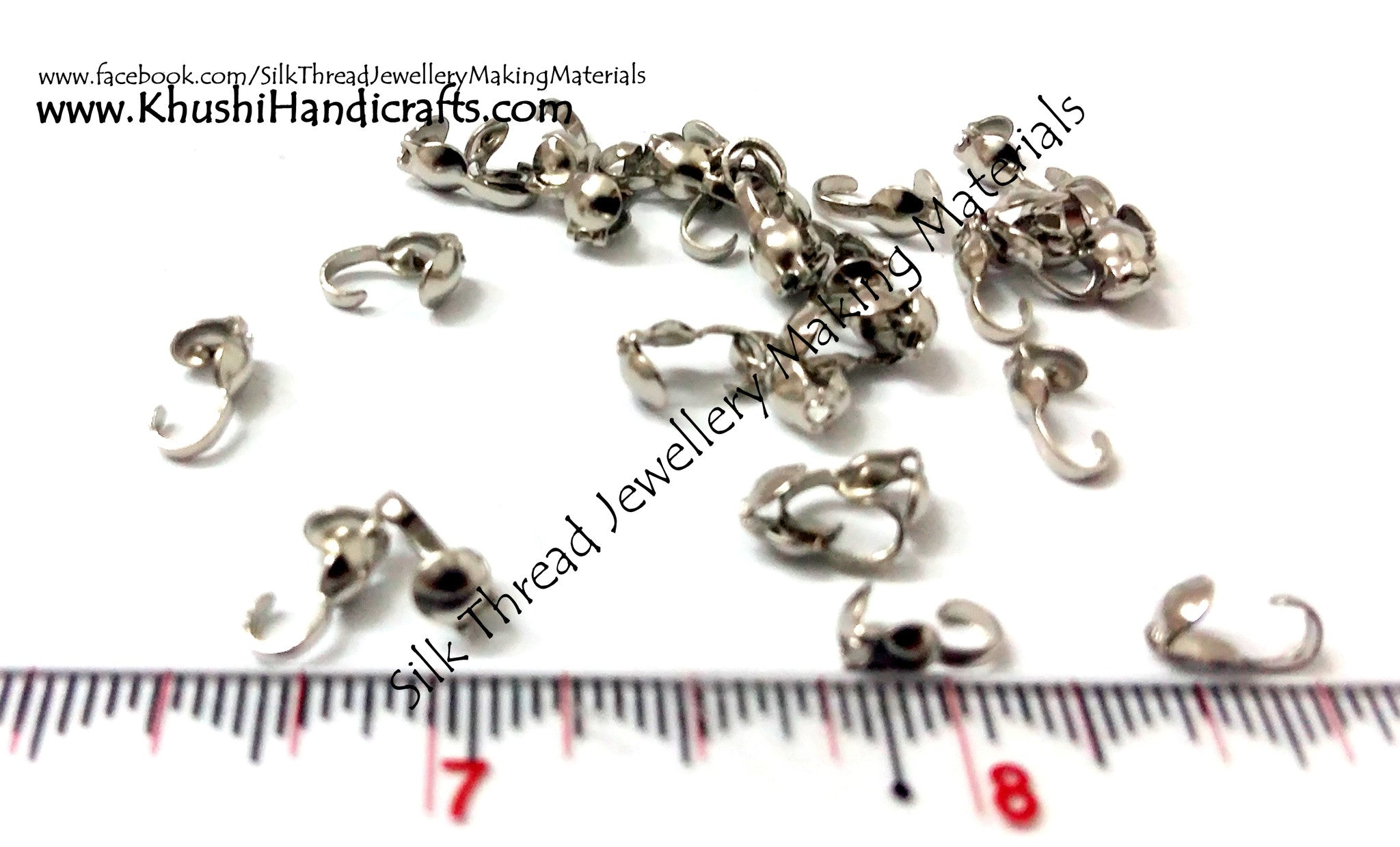Crimp bead/Seed bead covers in Silver.Sold as a set of 5 pairs! - Khushi Handmade Jewellery