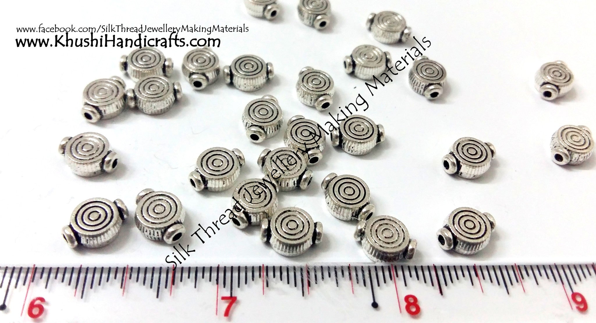 Designer Antique Silver spiral spacer beads,Sold as a pack of 10 beads! - Khushi Handmade Jewellery