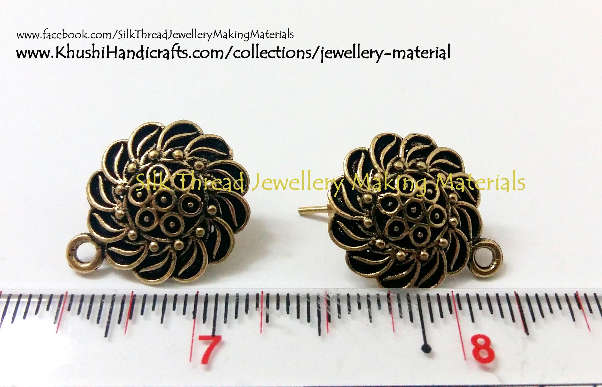 Antique Gold Flower Pattern Studs - Khushi Handmade Jewellery