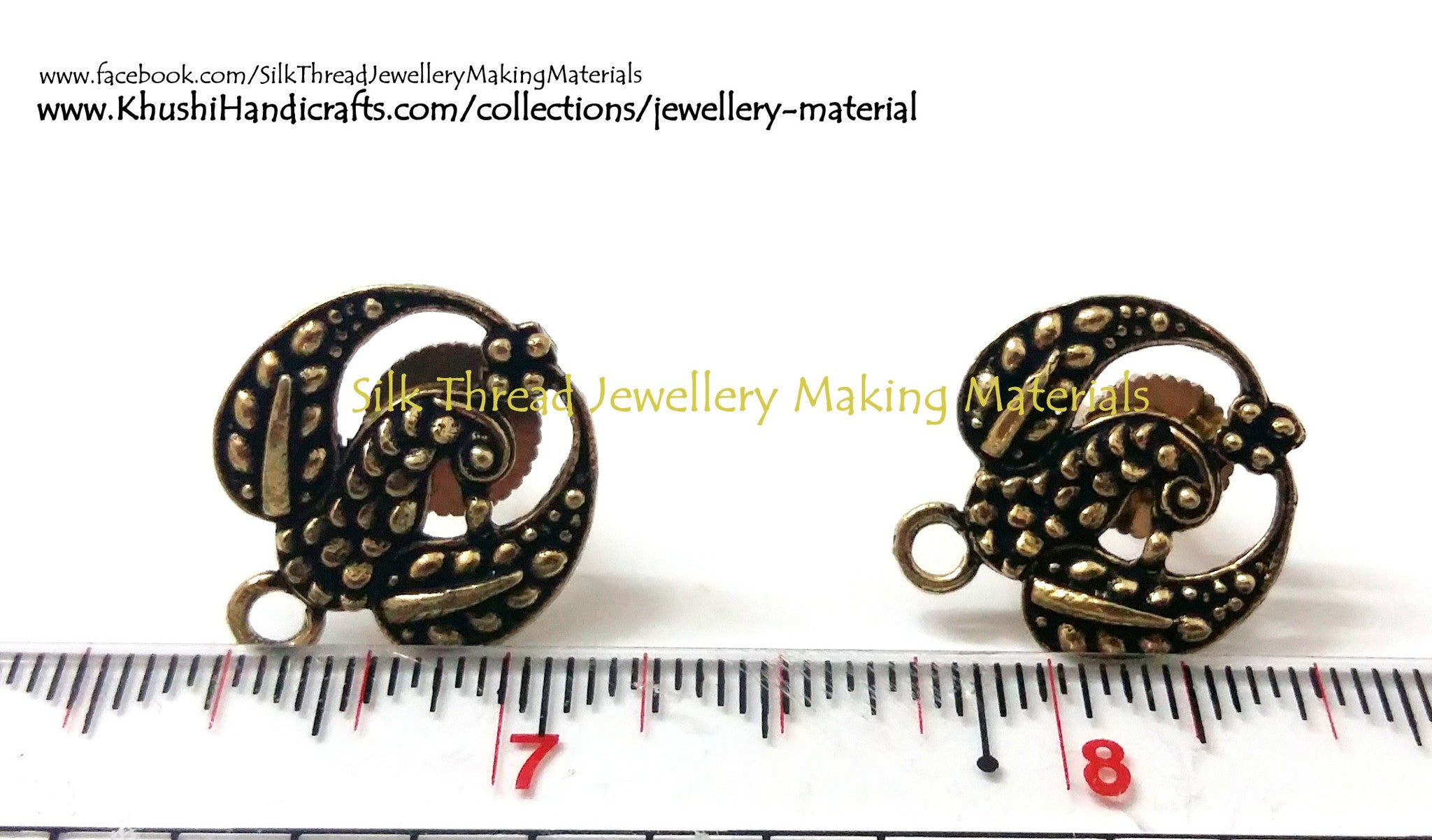 Antique Gold Peacock studs pattern 3 - Khushi Handmade Jewellery