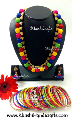 Multicolored Silk Thread Bridal Collection Necklace set with Bangles