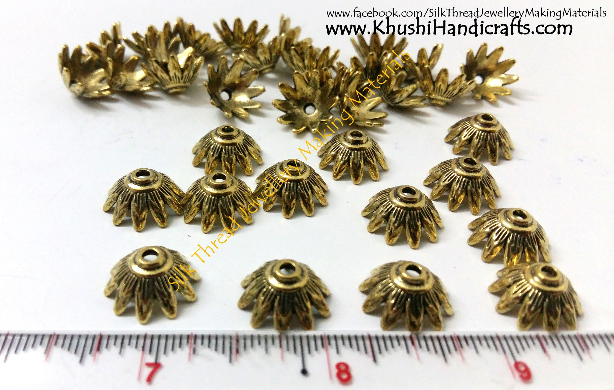 Antique Gold Bead Cap pattern 1 - Khushi Handmade Jewellery