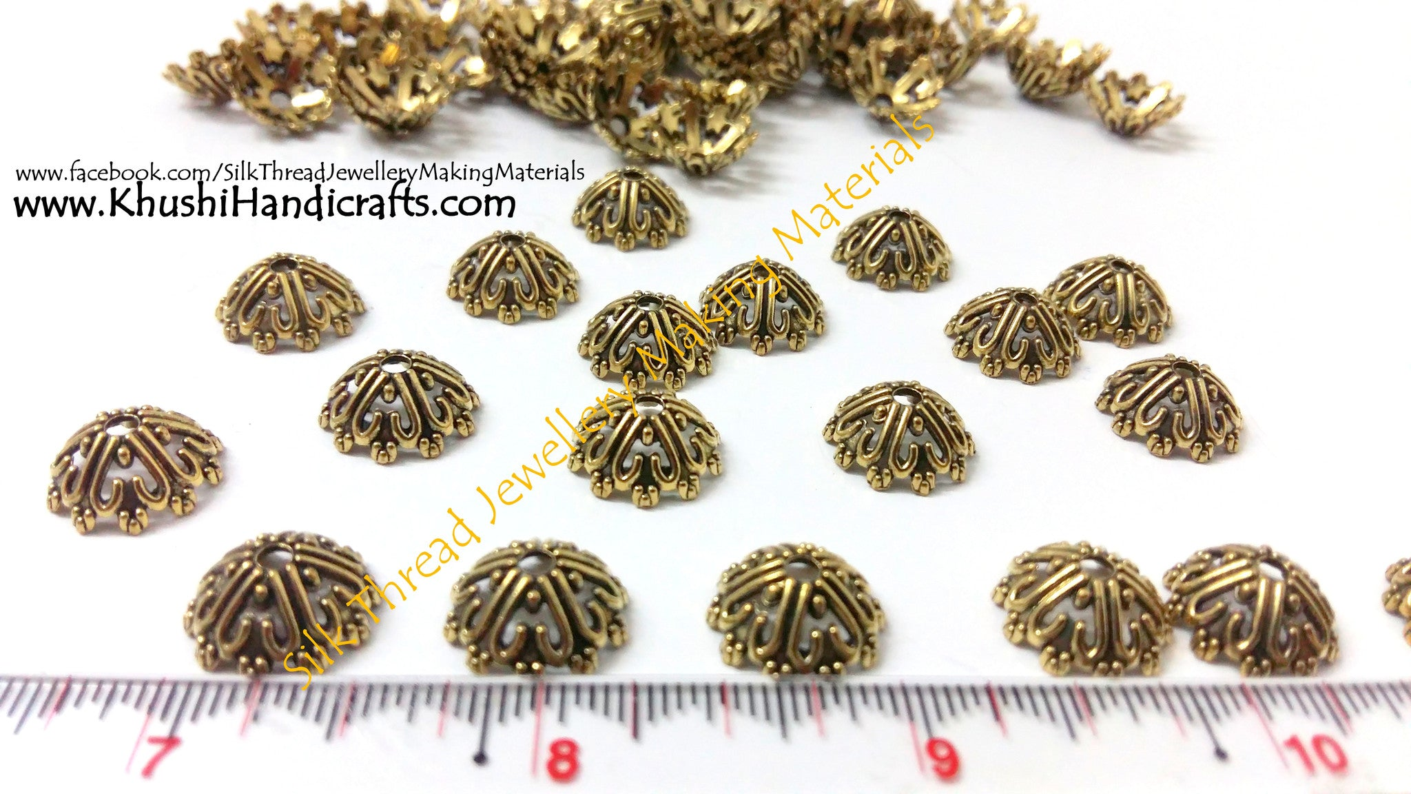 Antique Gold Bead Cap pattern 2 - Khushi Handmade Jewellery