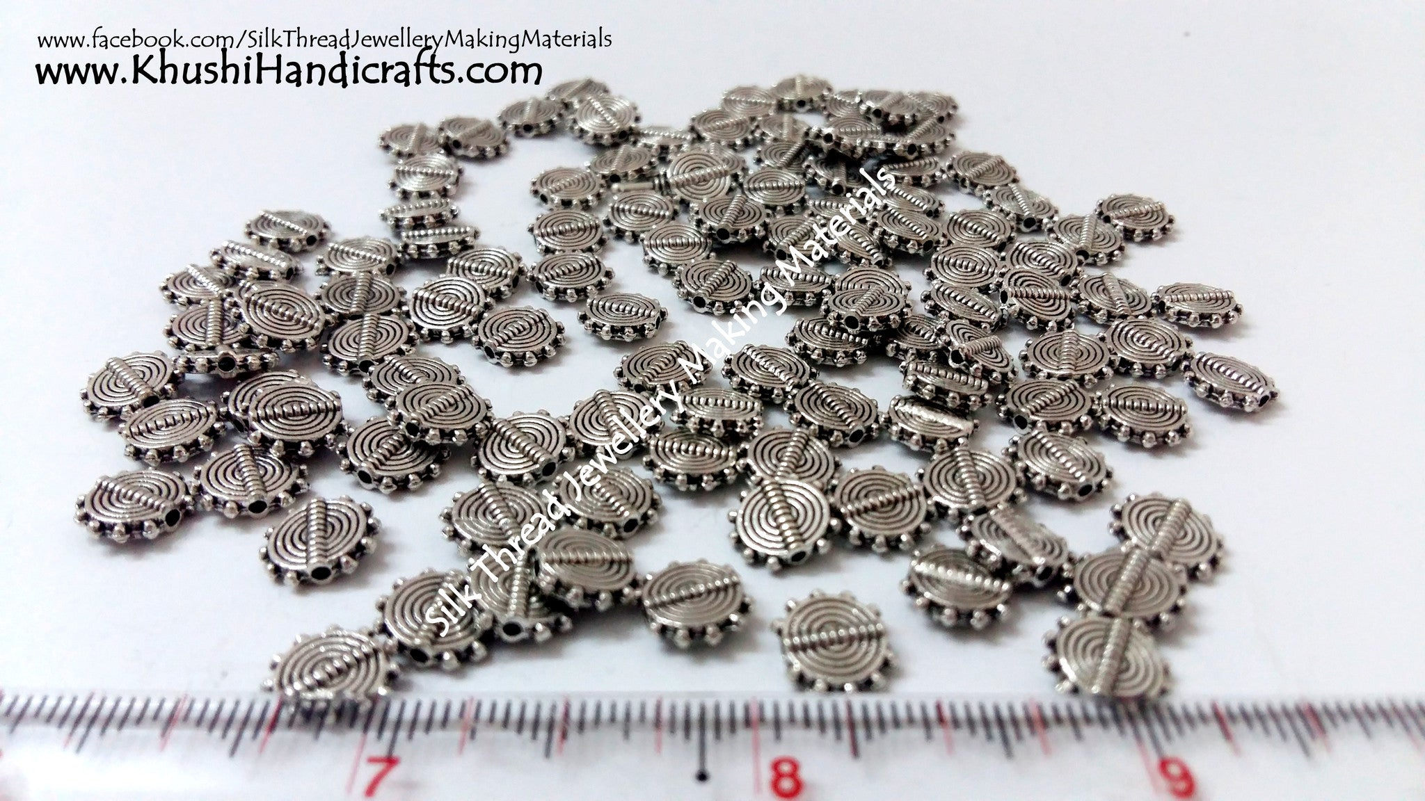 Designer Antique Silver spiral spacer beads style 2(Sold as 10 pieces a pack!) - Khushi Handmade Jewellery