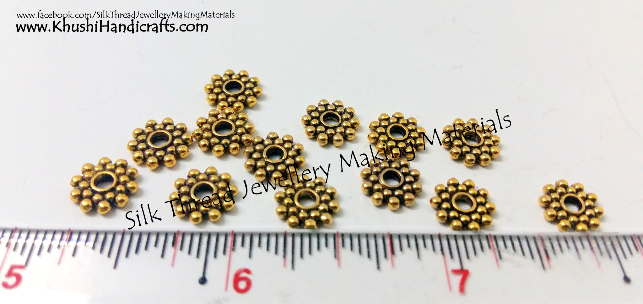 Metal Flower /Snowflake spacer beads in Antique Gold and Silver - Khushi Handmade Jewellery