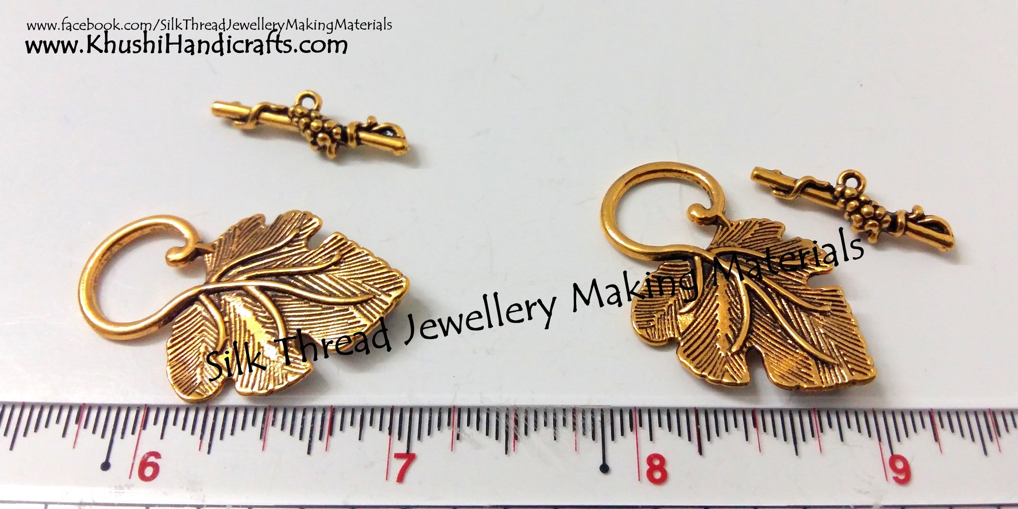 Grape Leaf Toggle Clasps in Antique Gold - Khushi Handmade Jewellery