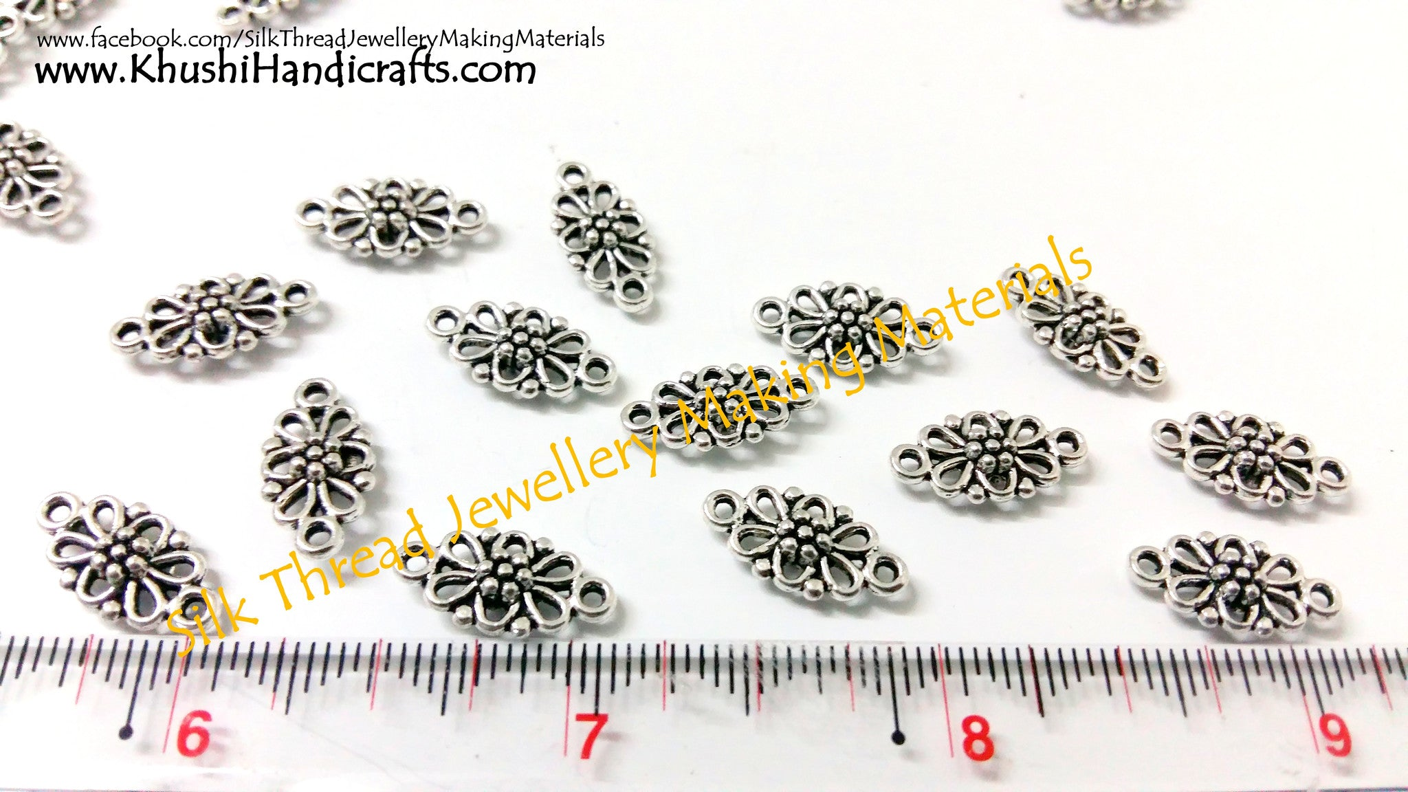 Antique Silver Flower Designer Earring Connector.Sold per pair. - Khushi Handmade Jewellery