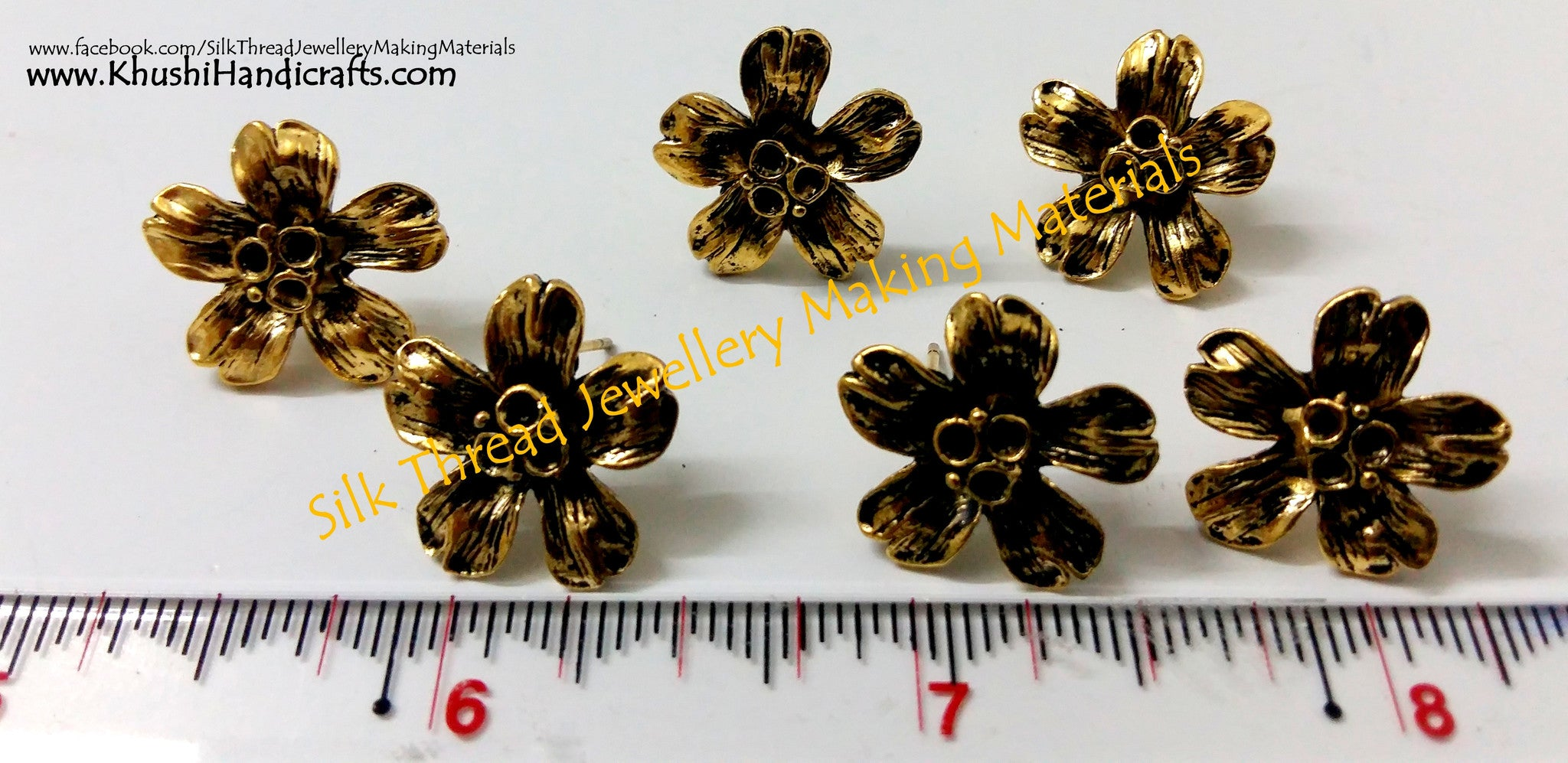Antique Gold Flower Stud pattern 2 (studs without loop) - Khushi Handmade Jewellery