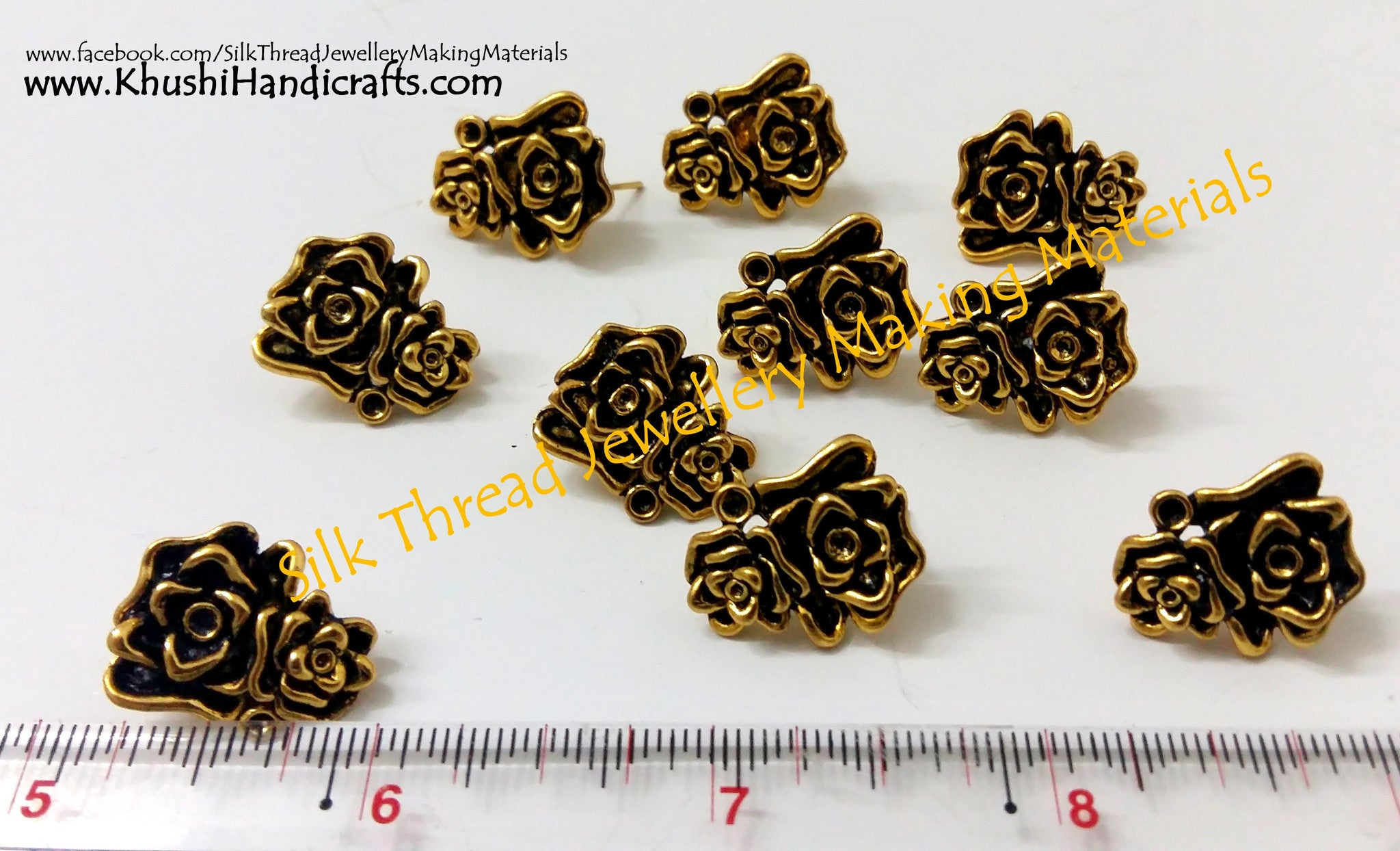 Antique Gold Multiple Flower Stud (studs without loop) - Khushi Handmade Jewellery