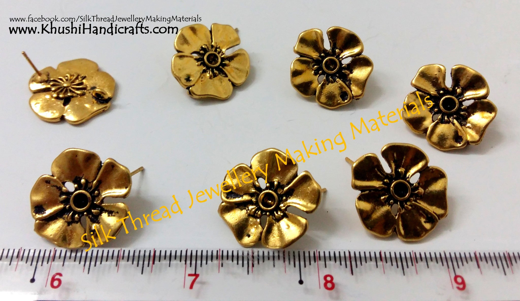 Antique Gold Big Flower stud