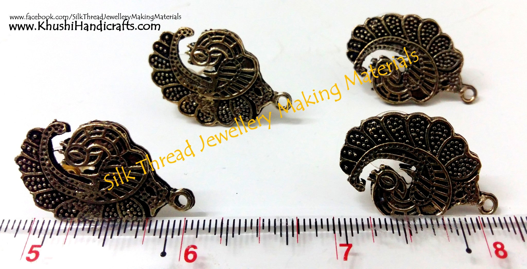 Antique Gold Peacock Stud pattern 6 - Khushi Handmade Jewellery