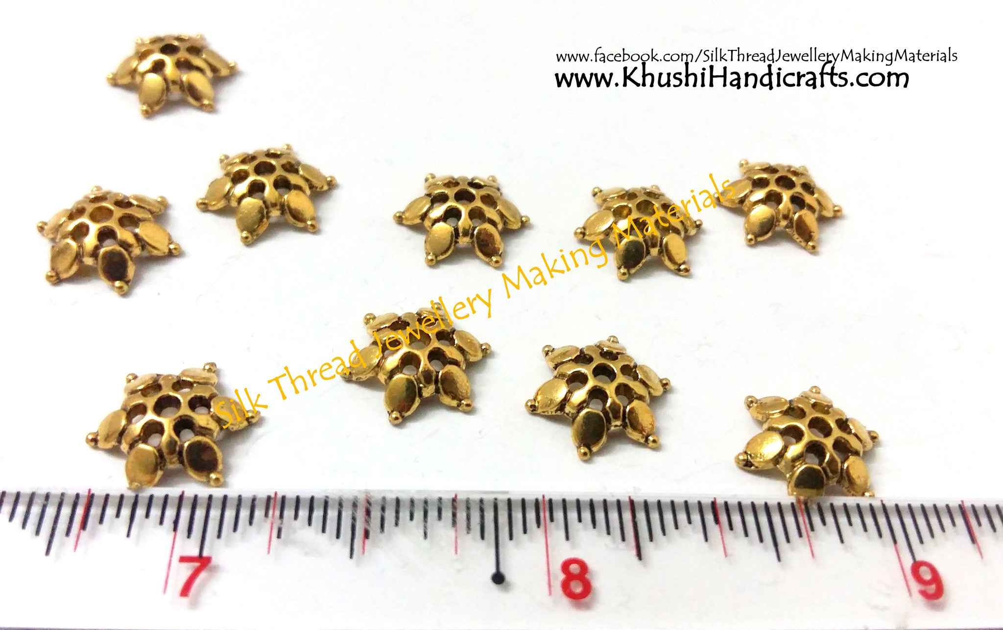 Antique Gold Flower Bead Cap 12mm