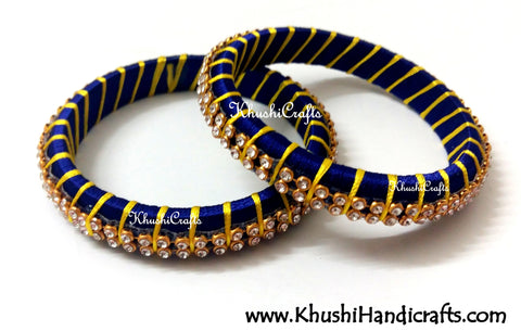 Grand Set of Designer Silk Bangles in Royal blue and Yellow