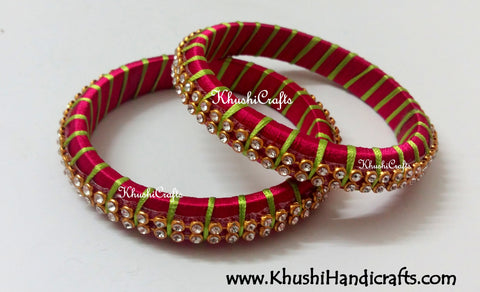 Grand Set of Designer Silk Bangles in Magenta and Lime Green