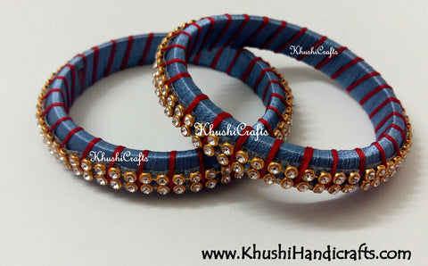 Grand Set of Designer Silk Bangles in Grey and Red