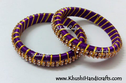 Grand Set of Designer Silk Bangles in Purple and Yellow