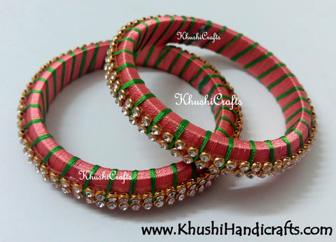 Grand Set of Designer Silk Bangles in Peach and Green