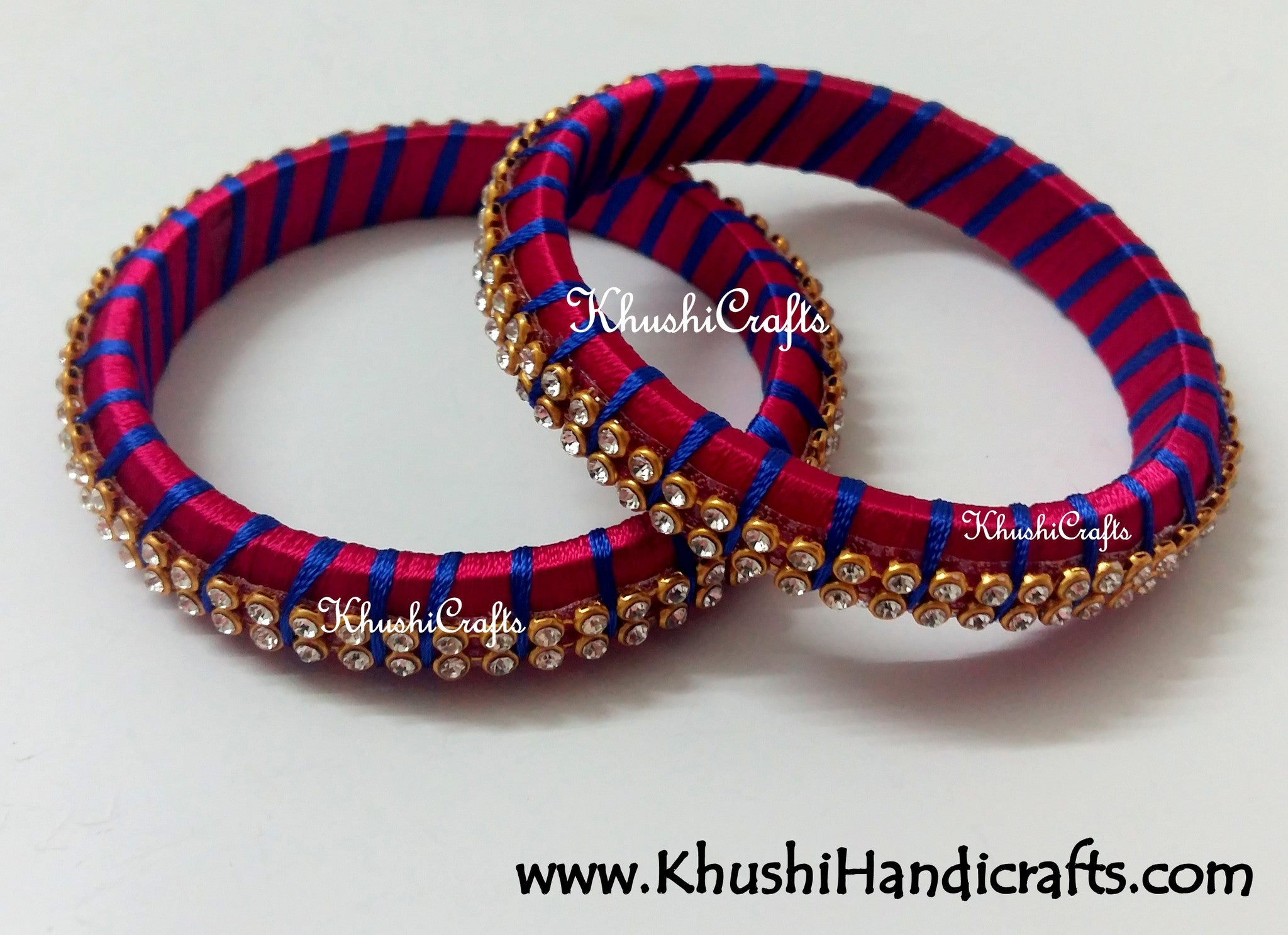 Grand Set of Designer Silk Bangles in Magenta and Blue - Khushi Handmade Jewellery