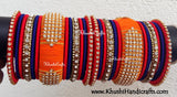 Designer Multicolored Silk Thread Bridal Bangles in Orange Red and Blue