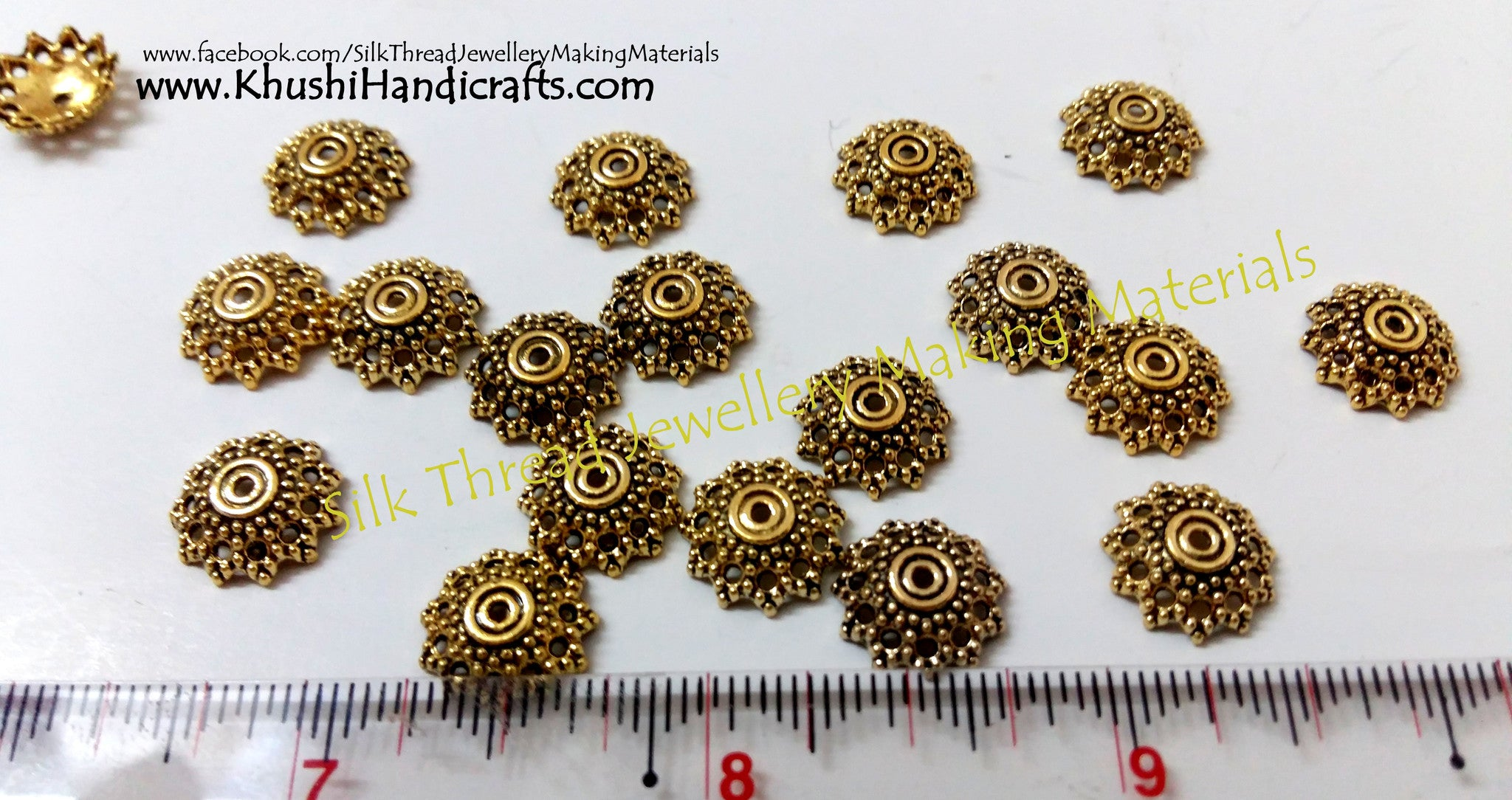 Antique Gold Bead Cap 12mm Pattern 2 - Khushi Handmade Jewellery