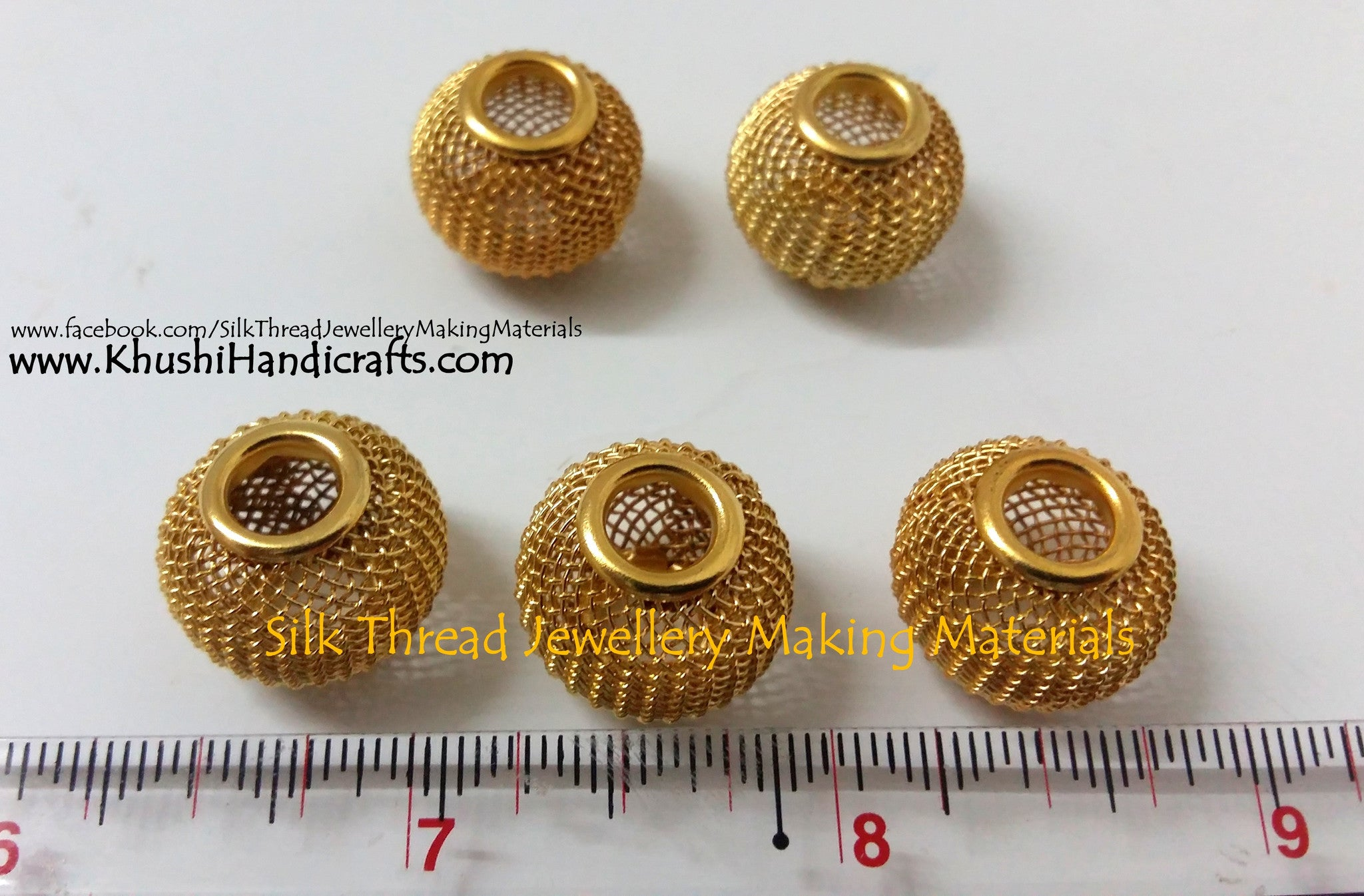 Wire Mesh Beads.Sold as a single piece..... - Khushi Handmade Jewellery