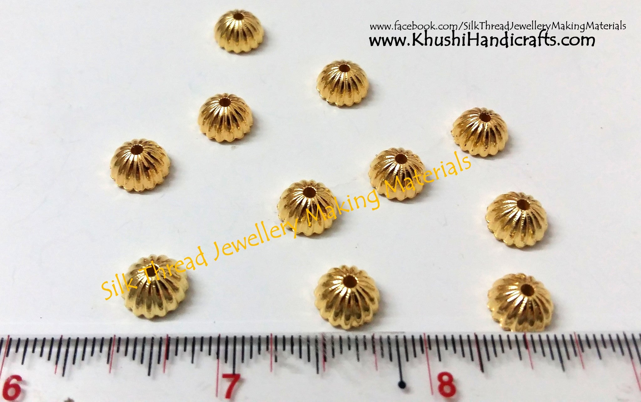 Designer Bead Cap 1.Sold as a pack of 10 pairs. - Khushi Handmade Jewellery