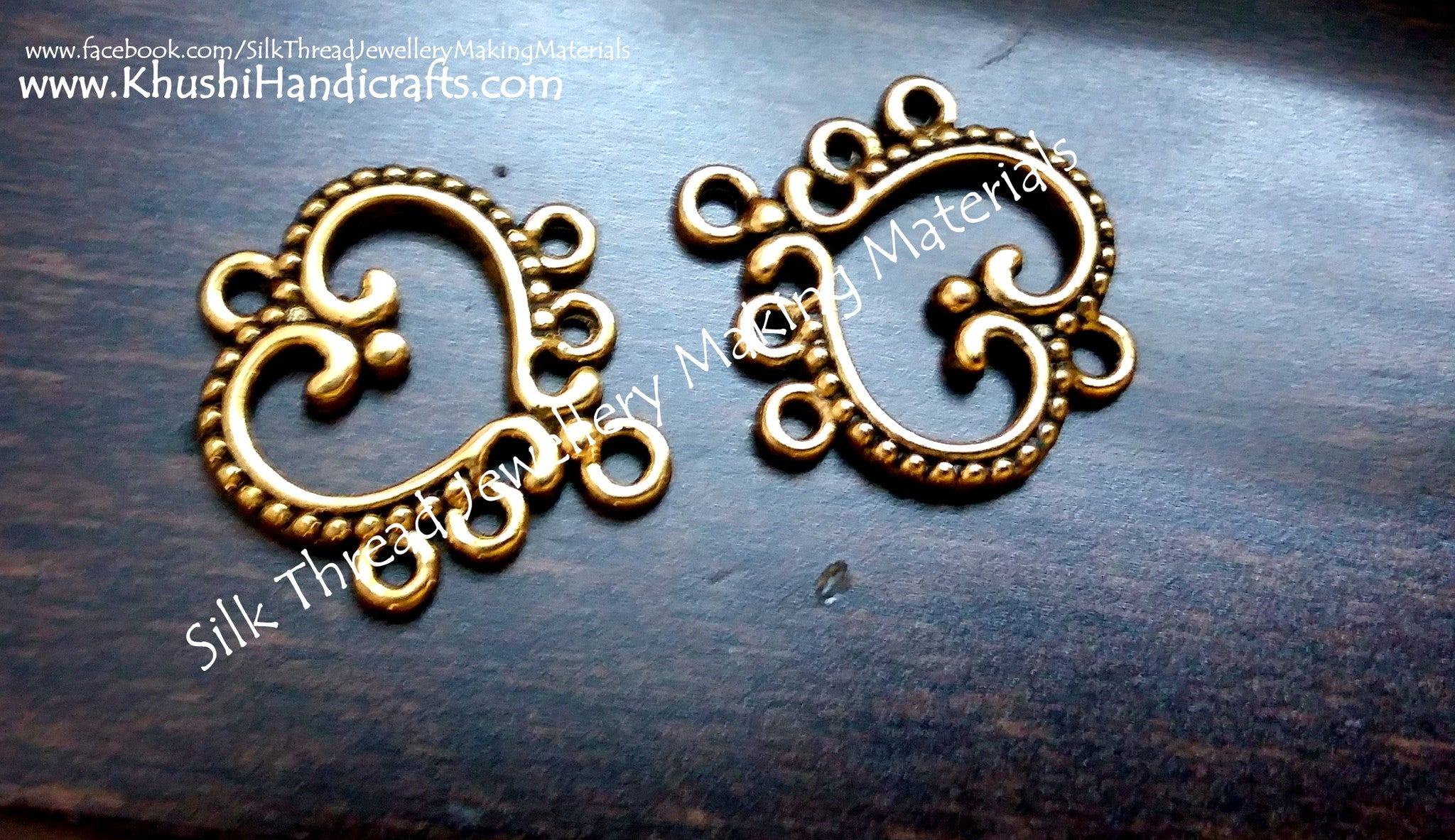 Antique Gold Heart Earring Connector / Connectors.Sold per pair! - Khushi Handmade Jewellery