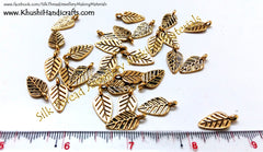 Antique Gold Leaf charms.Sold as a set of 10 pieces! - Khushi Handmade Jewellery