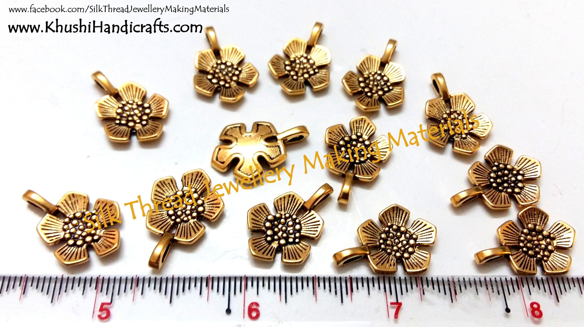 Antique Gold Flower charms