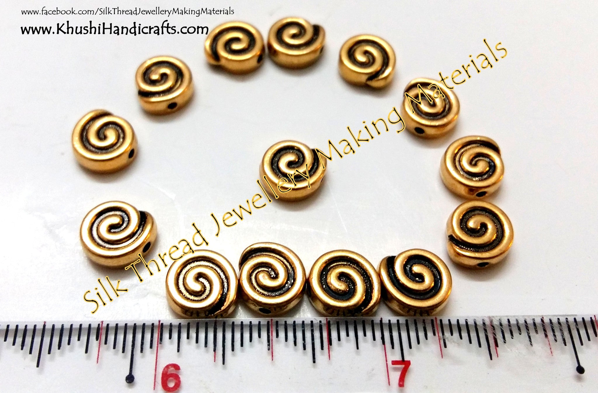 Antique Gold Spiral spacer charms.Sold as a set of 10 pieces! - Khushi Handmade Jewellery