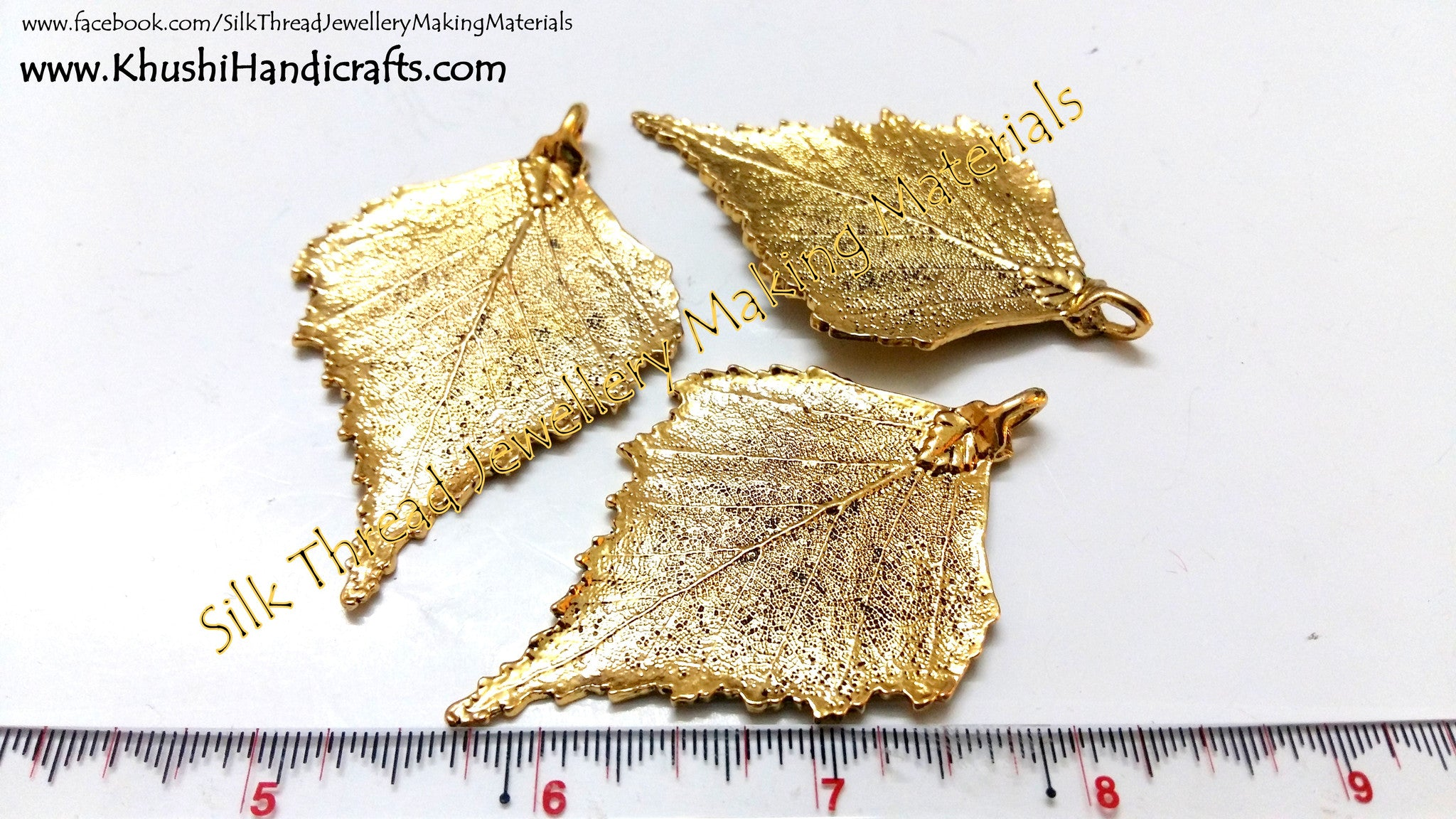 Antique Gold Leaf Pendant charms.Sold per piece! - Khushi Handmade Jewellery