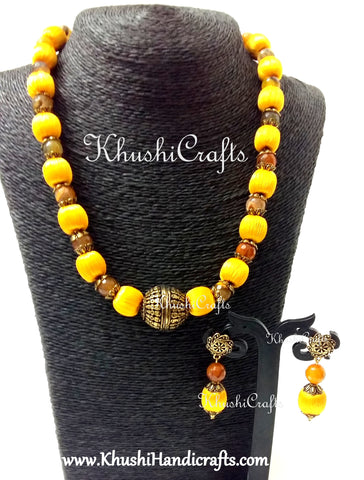 Yellow splendor silk beads ,quartz and german silver amalgamated neckpiece