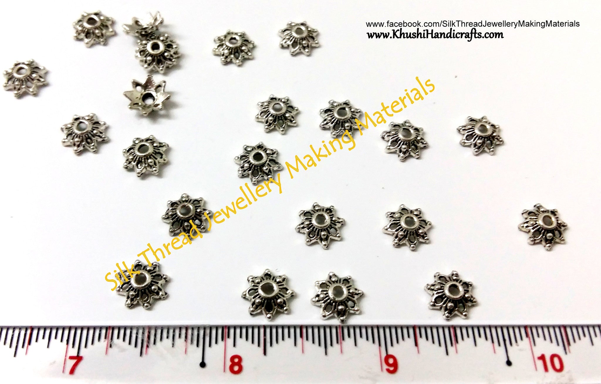 Antique Silver Bead Cap Flower pattern 2 - Khushi Handmade Jewellery