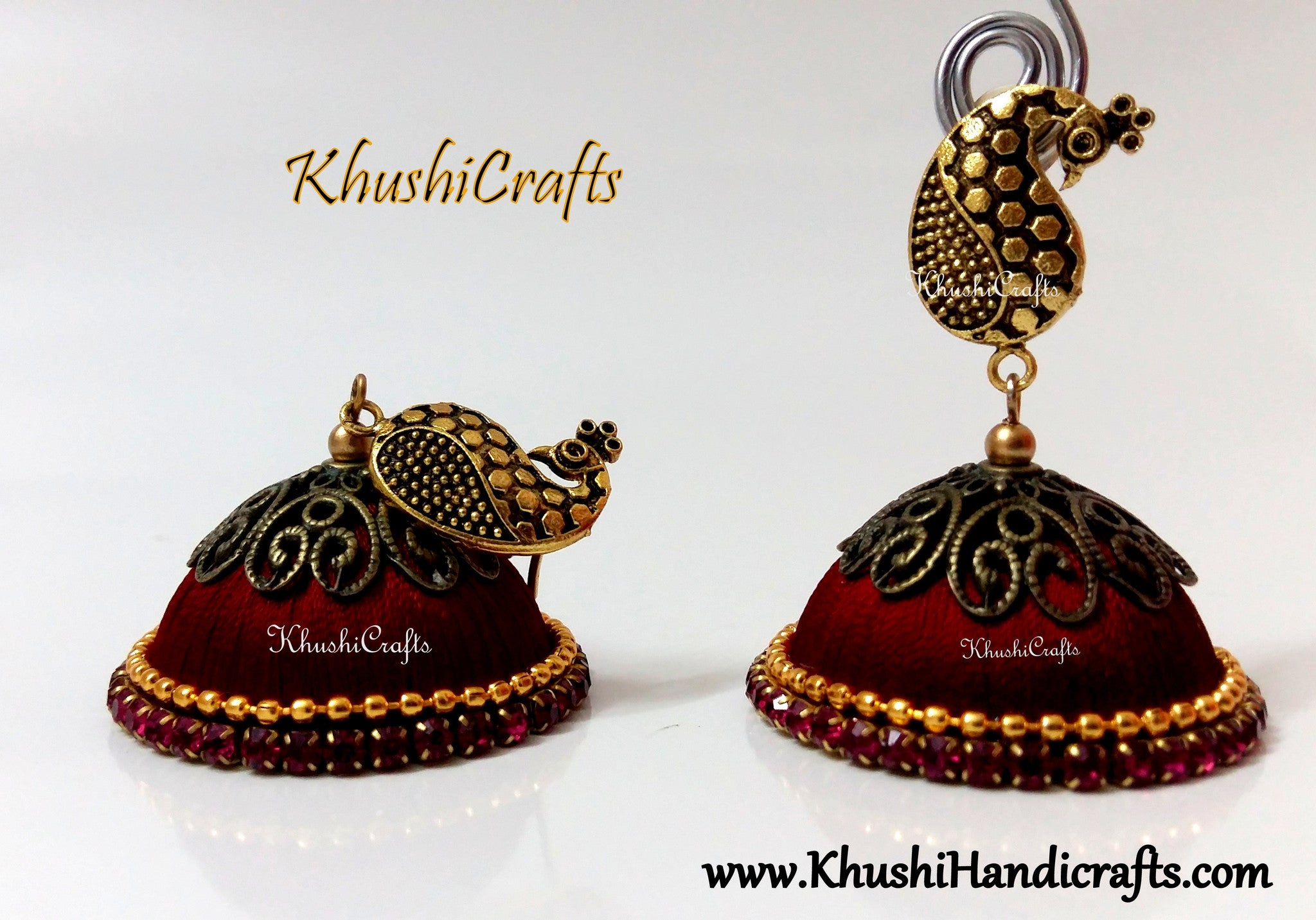 a stud jhumkas large extra products peacock red designer silk enhanced with