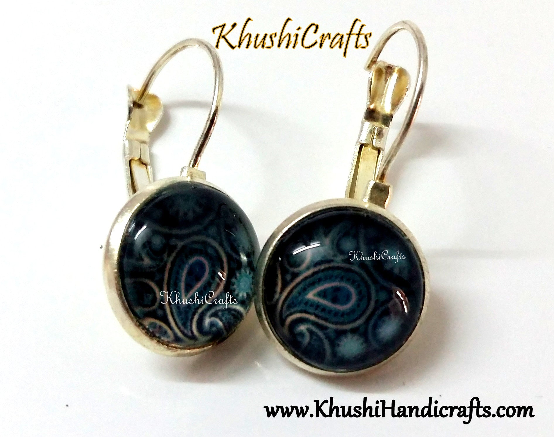 Simple Daily wear Cabochon earrings - Khushi Handmade Jewellery