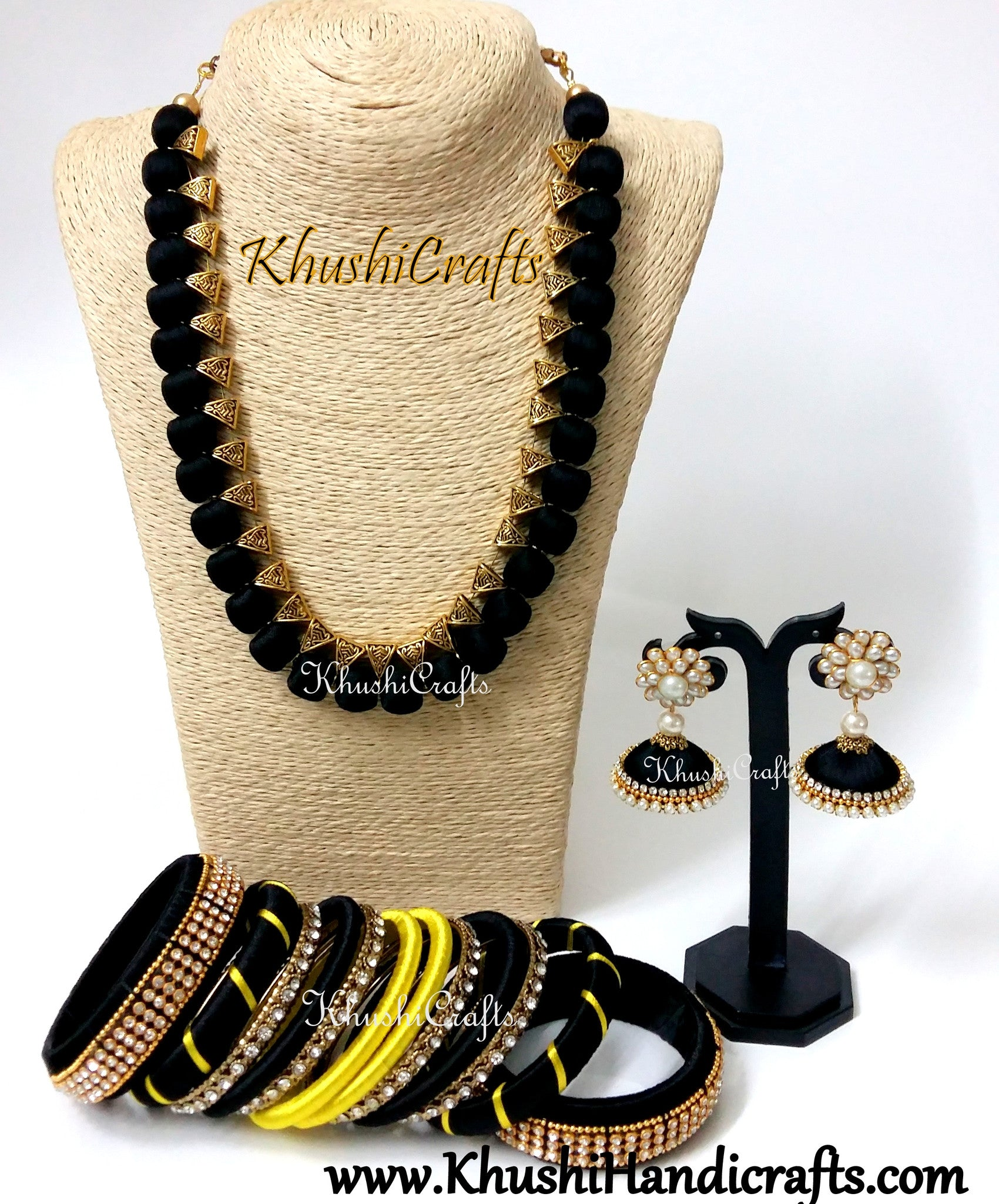 Black Silk Thread Necklace set with Bangles in Black and Yellow