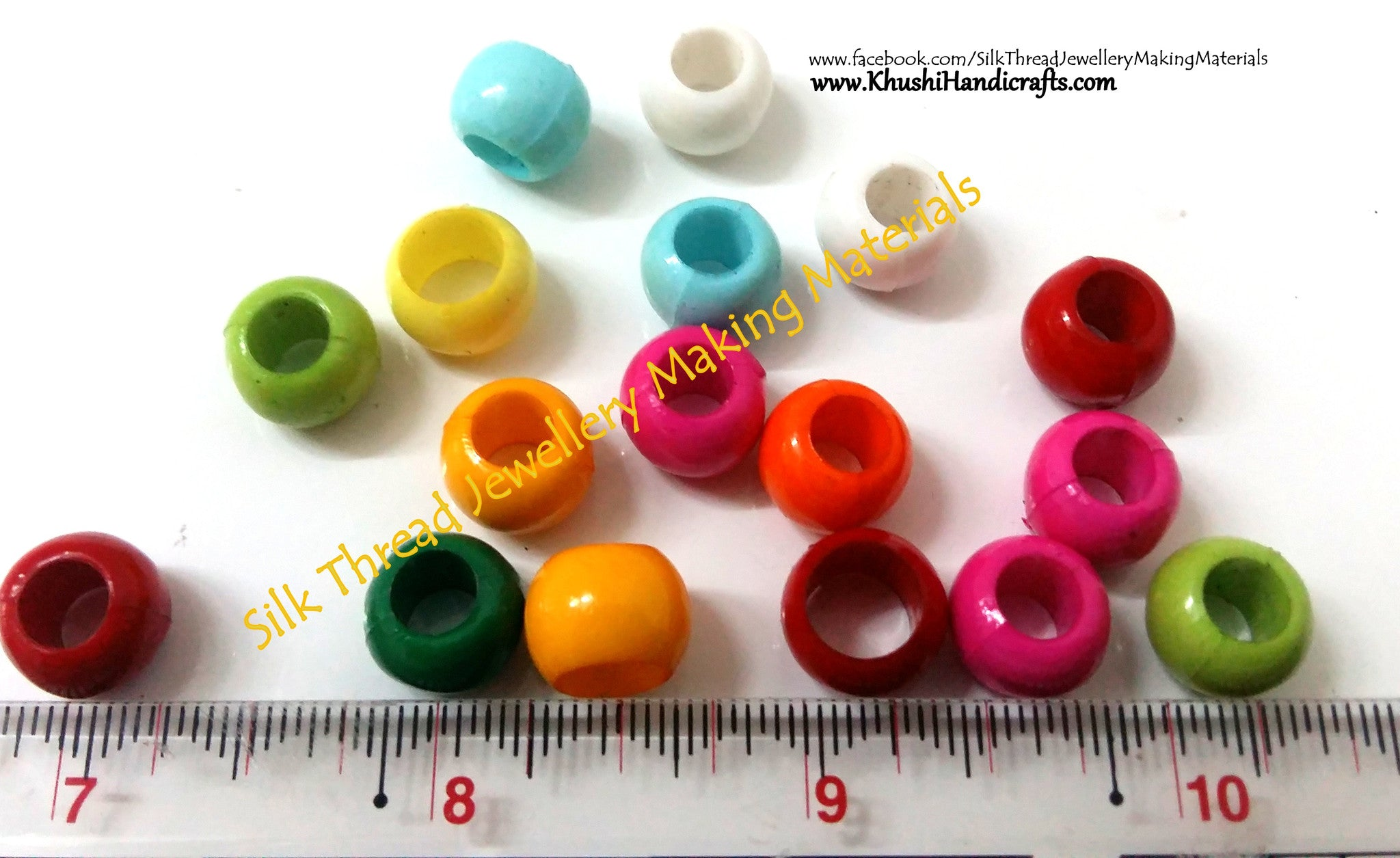 Plastic Round beads 10mm(Pack of 10grams) - Khushi Handmade Jewellery